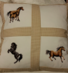 PERSONALISED EMBROIDERED CUSHION WITH HORSE THEME